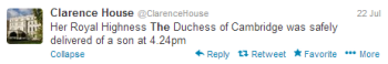 Tweets about the royal baby took off after this announcement from the Clarence House.