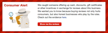 Yelp's Consumer Alert Message Warns Brands Not To Inflate Ratings With Purchased Or Manufactured Web Content.
