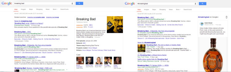 Breaking Bad and #BreakingBad search
