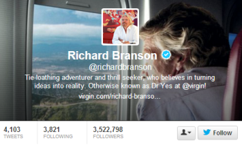 Richard Brandson builds his brands' reach with social media content.