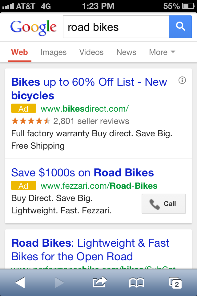 Google's mobile search results prioritize paid ads.