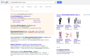 A search for rechargeable razors provides the new sponsored search results.