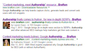 The reduction in Authorship rich snippets may be less of a reflection of writers'v credibility and more related to brands' page authority.