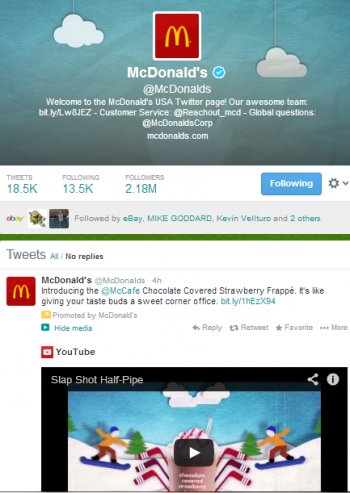 The social content McDonalds shares on Twitter is effectively engaging customers online.
