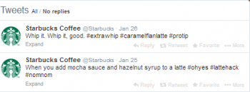 Starbucks Twitter content keeps followers engaged.