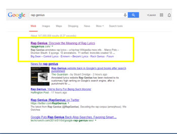 Rap Genius is on the path to recovery in search results.