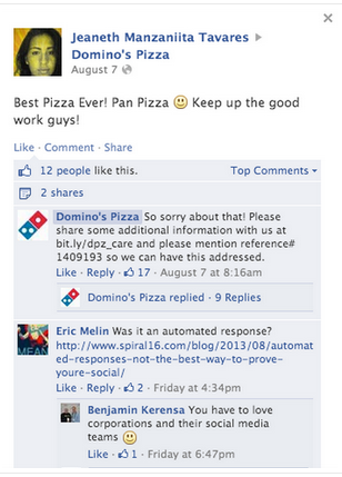 Domino's provides a response that seems canned and spammy rather than honest and caring.