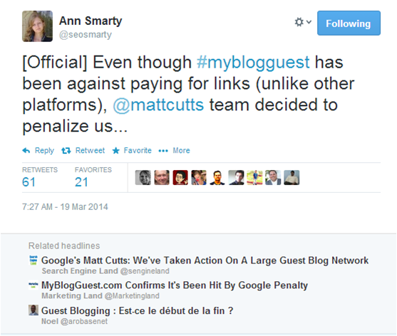 Ann Smarty defends MyGuestBlog.com, which was recently penalized by Google.