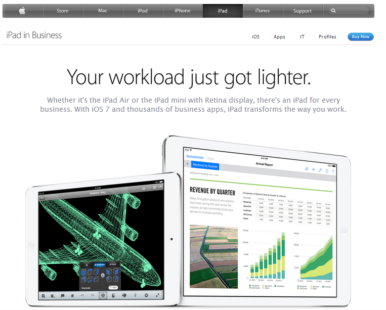 apple's website content is minimal, but effective.