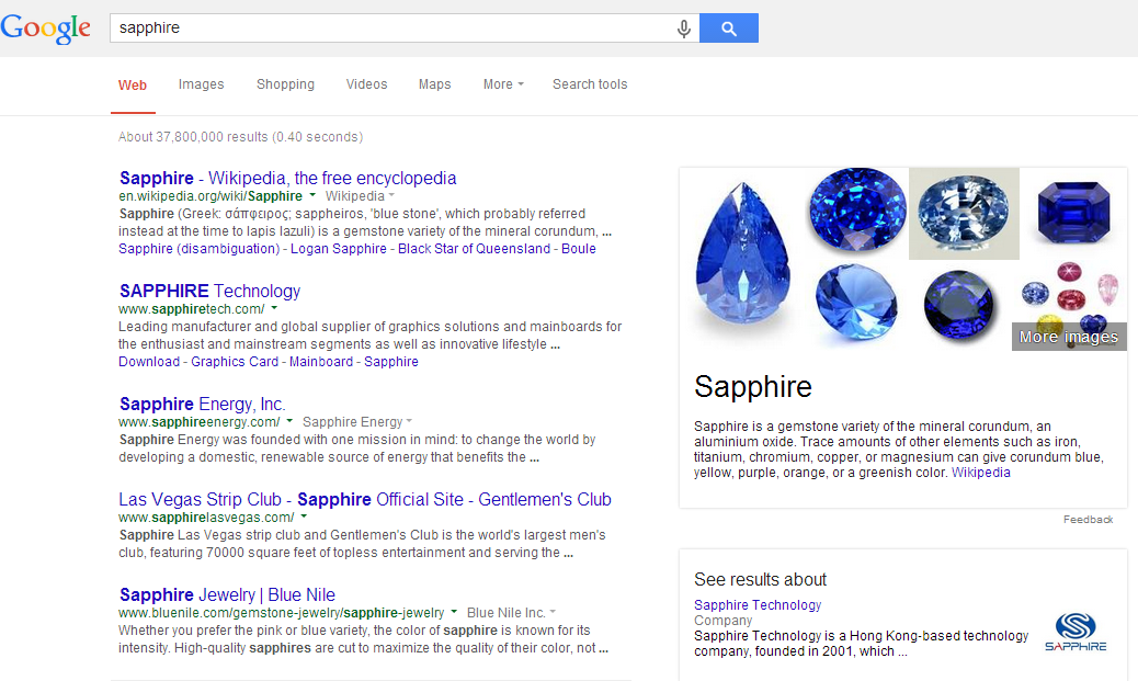 Sapphire search results show how Info Cards are cannibalizing search traffic.