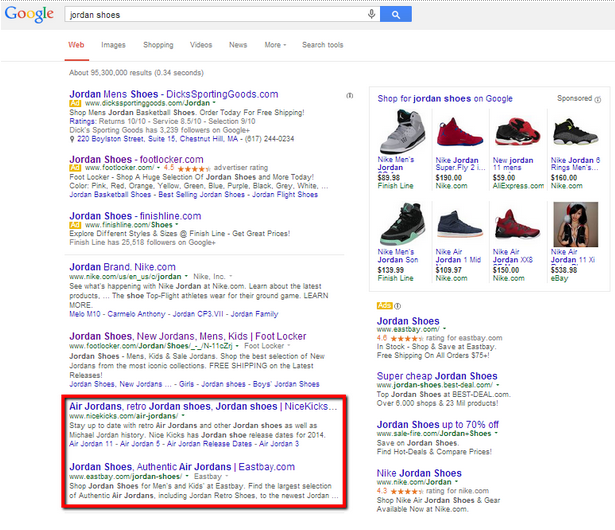 In a SERP for Nike shoes, it became clear competitors were outranking a client because they had more content on their sites.