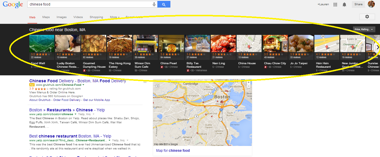 An example of a results page with a carousel for local restaurants.