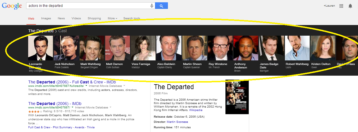 An example of a results page with a carousel of film information.