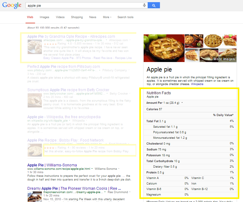An example of search results with nutrition information.