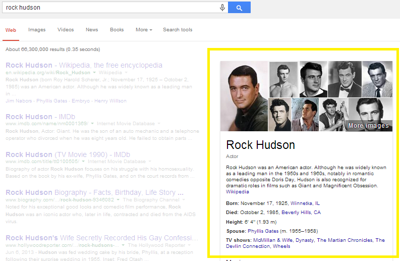 An example of an actor info card in Google Search Results.