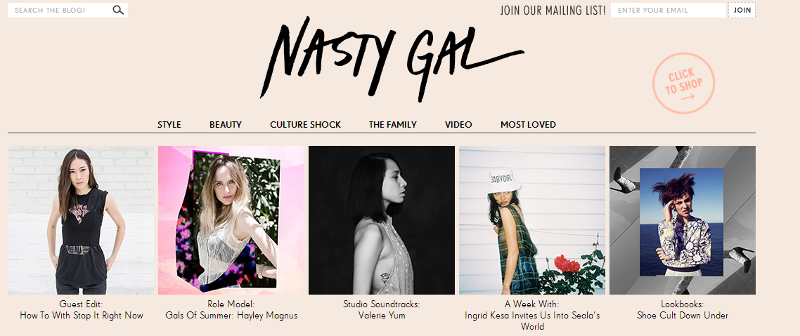 The Nasty Gal blog is an example of a website effectively creating a lifestyle out of its brand.