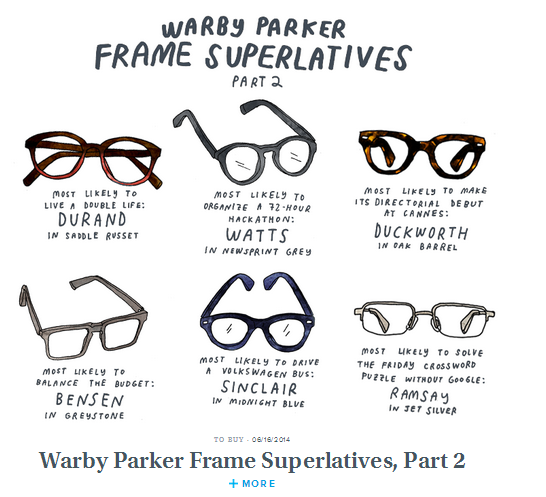 In its blog, Warby Parker effectively relates to its target audience with references to their lifestyle.