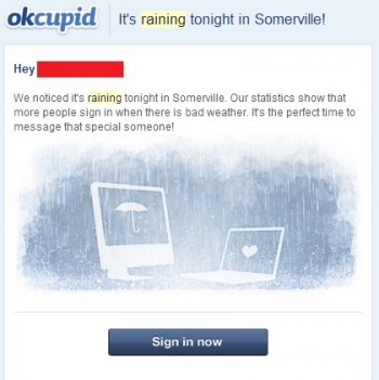 okcupid email weather marketing