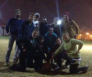 Brett and Team Brafton, following their first kickball win at the Chicago Sport and Social Club.