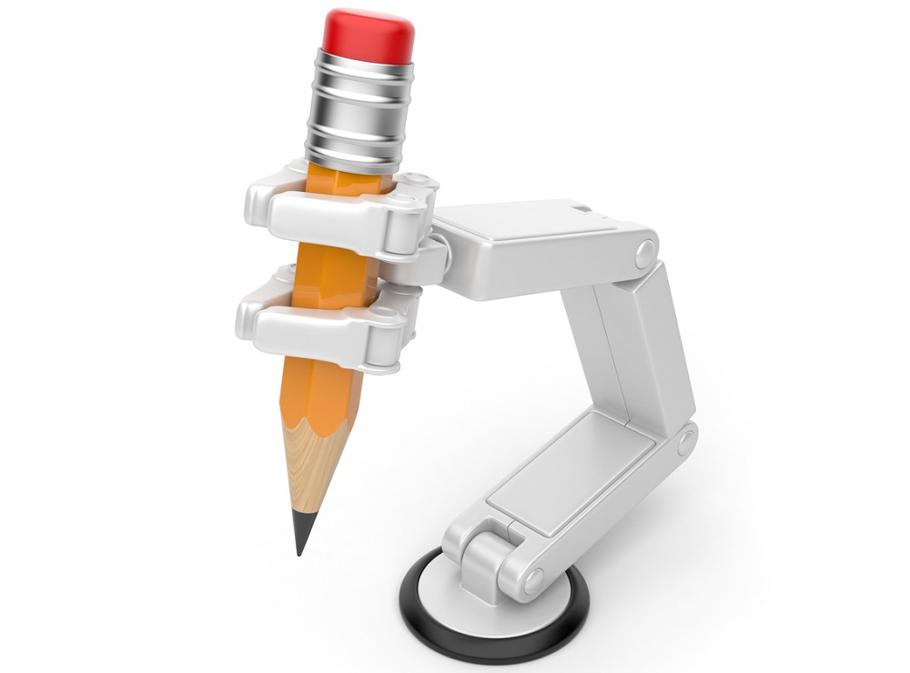 robot writing hand automated content