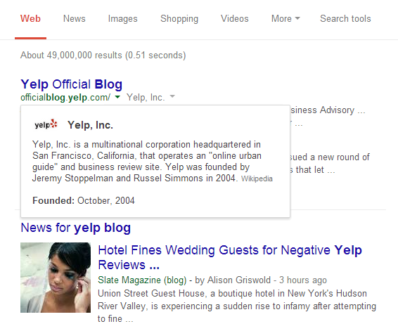 yelp blog SERP