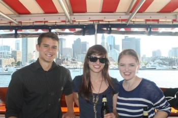 Kate and her Health & Living teammates on Brafton's summer boat cruise.