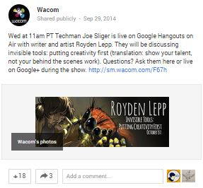 One of our favorite things about Wacom's G+? The awesome use of Hangouts!
