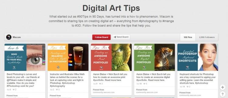 Wacom's digital art tips on Pinterest.