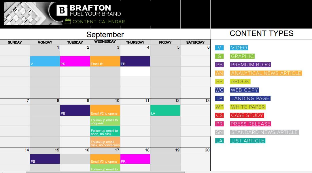 Content Calendar example