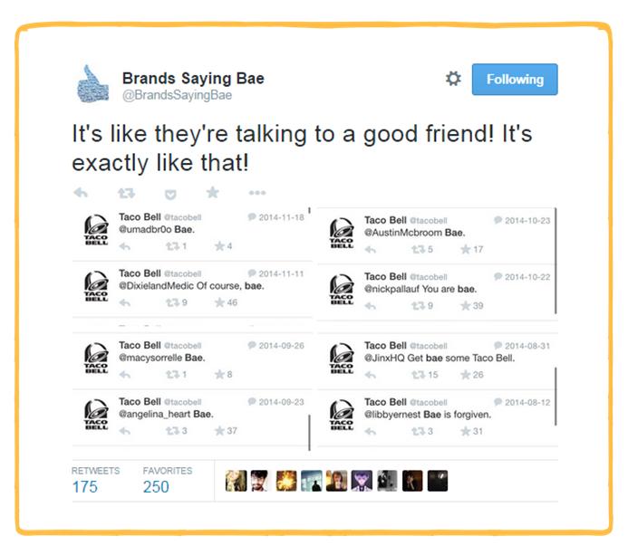 Brands Saying Bae Twitter