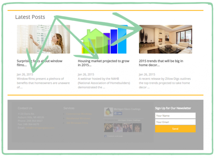 Blogs on Homepage Example