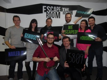 Colleen and her teammates at Escape the Room Boston.