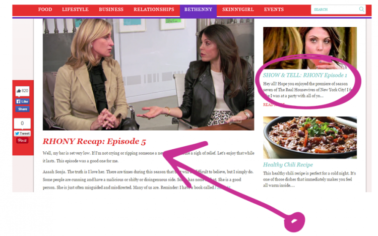Bethenny Frankel Content marketing example