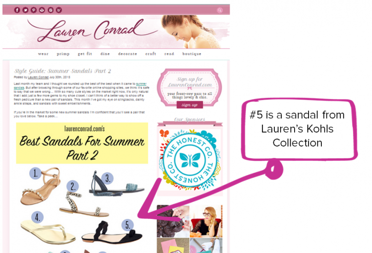 Lauren Conrad content marketing example