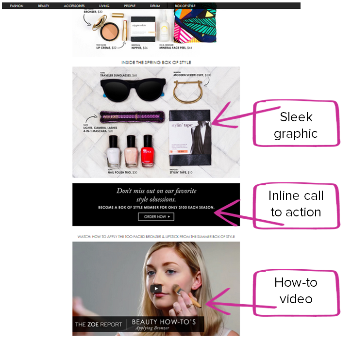 Rachel Zoe content marketing example