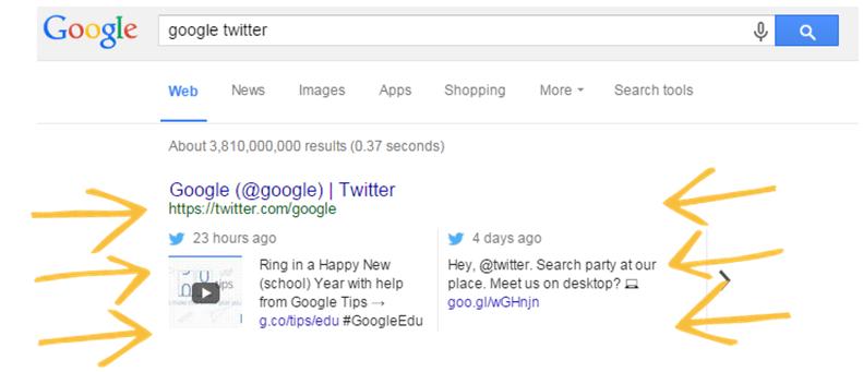 Tweet in desktop result