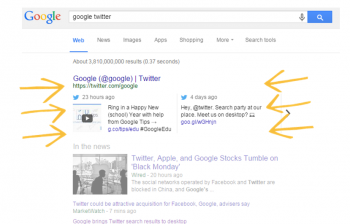 Google recently announced it's showing Tweets in SERPs for all English queries, and displaying them on mobile results as well.