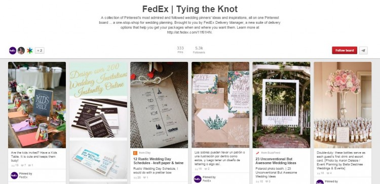 Fed Ex's tying the knot pinboard