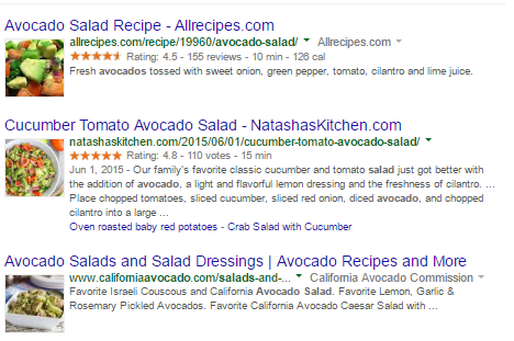 "A search for ""avocado salad"" will display recipe results with instructions and pictures on the front page."