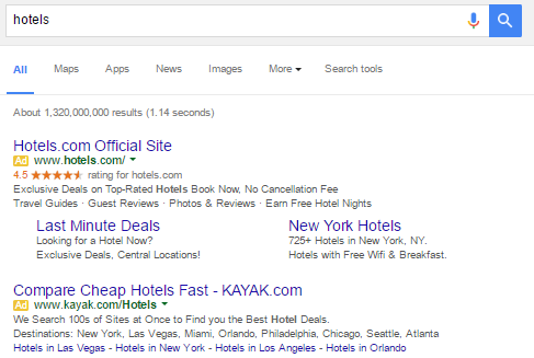 "Searching ""hotels"" results in ads at the top of the SERP to help marketers reach new audiences."