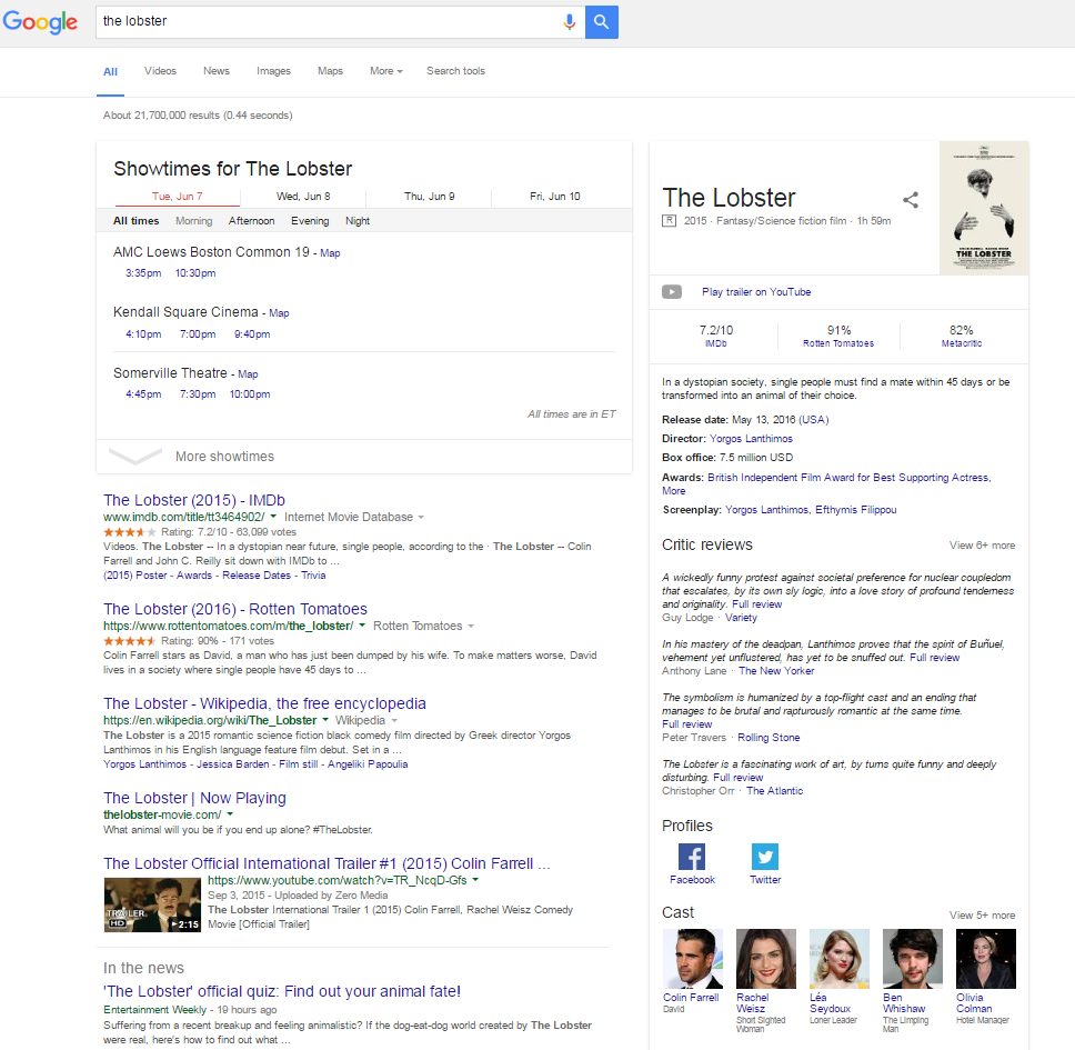 The Knowledge Graph is Google's largest SERP feature. It includes social media, casting, showtimes, Wiki information, reviews and links to maps.