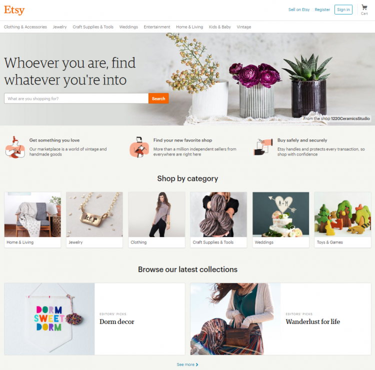 Etsy uses on-site cards to promote products and shops.
