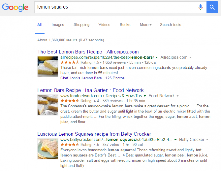 Using schema tells Google that photos of your recipe should accompany the link in a SERP.