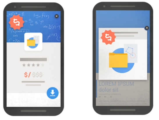 Mobile interstitial and pop-up. Images via Google's blog