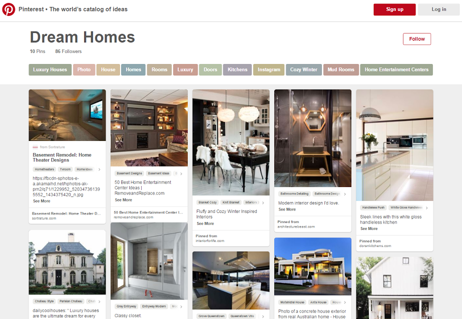 "This Pinterest board of ""dream homes"" helps to capture people's imaginations, and sell the lifestyle."