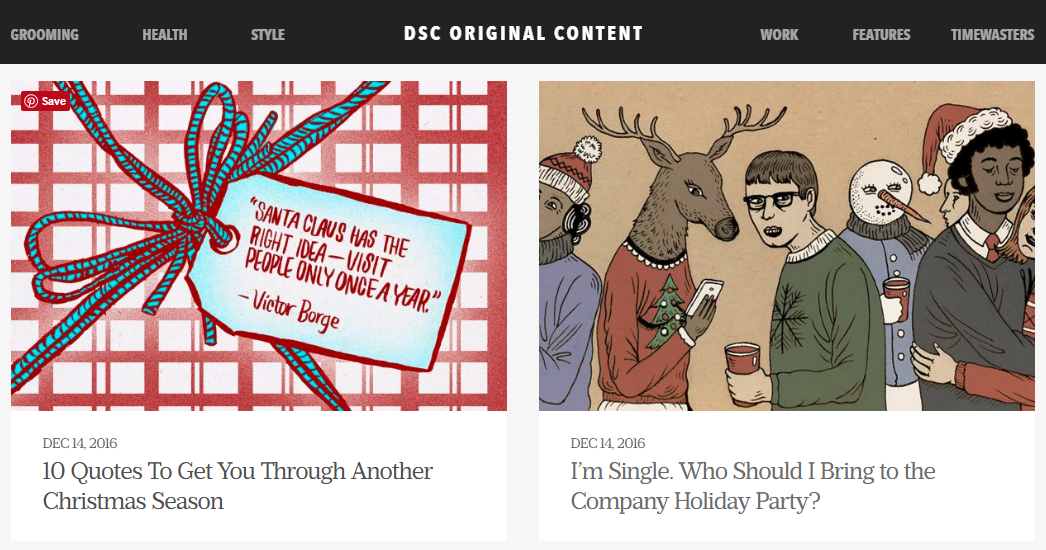 Dollar Shave Club knows its audience's state of mind when they seek out this blog.