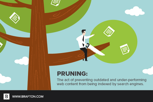 Pruning is the act of preventing content from being indexed by search engines to boost SEO.