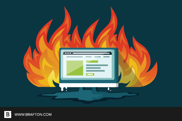 a website burning to the ground