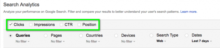 Filter clicks, impressions, CTR and average position for queries, specific pages, countries, etc.