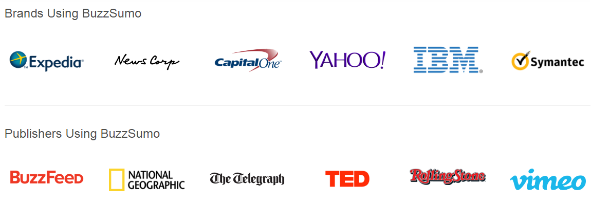 BuzzSumo works with many brands and publishers.